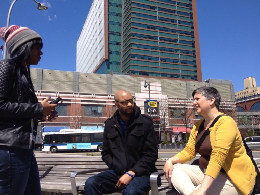Talking with Donald and Crystal outside the Barclays Center in Brooklyn.